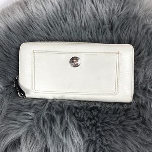 Coach white leather zip around wallet